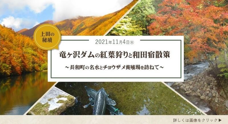 上田の秘境・竜ヶ沢ダムの紅葉狩りと和田宿散策~長和町の名水とチョウザメ養殖場を訪ねて~