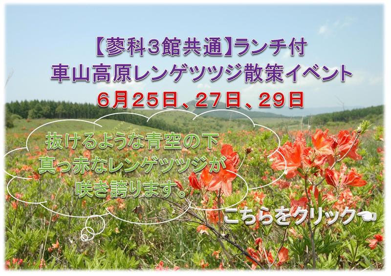 【蓼科3館共通】ランチ付車山高原レンゲツツジ散策イベント